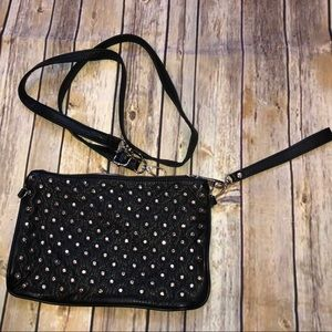 STEVE MADDEN Prem Black Leather Crossbody Wristlet